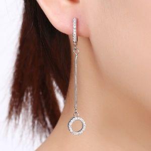 Silver-tone Zircon Geometric Drop Earrings